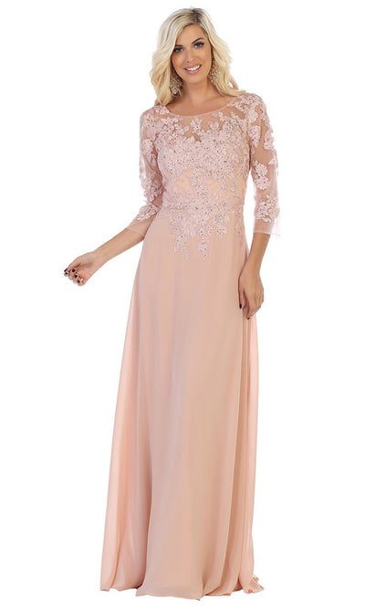 May Queen - MQ1637 Illusion Quarter Sleeve Long Dress In Pink