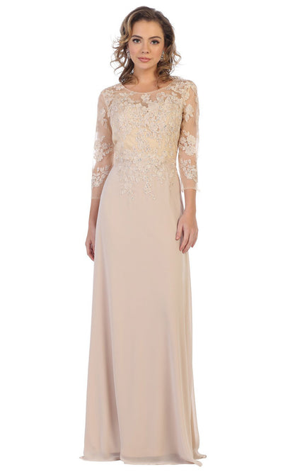 May Queen - MQ1637 Illusion Quarter Sleeve Long Dress In Champagne