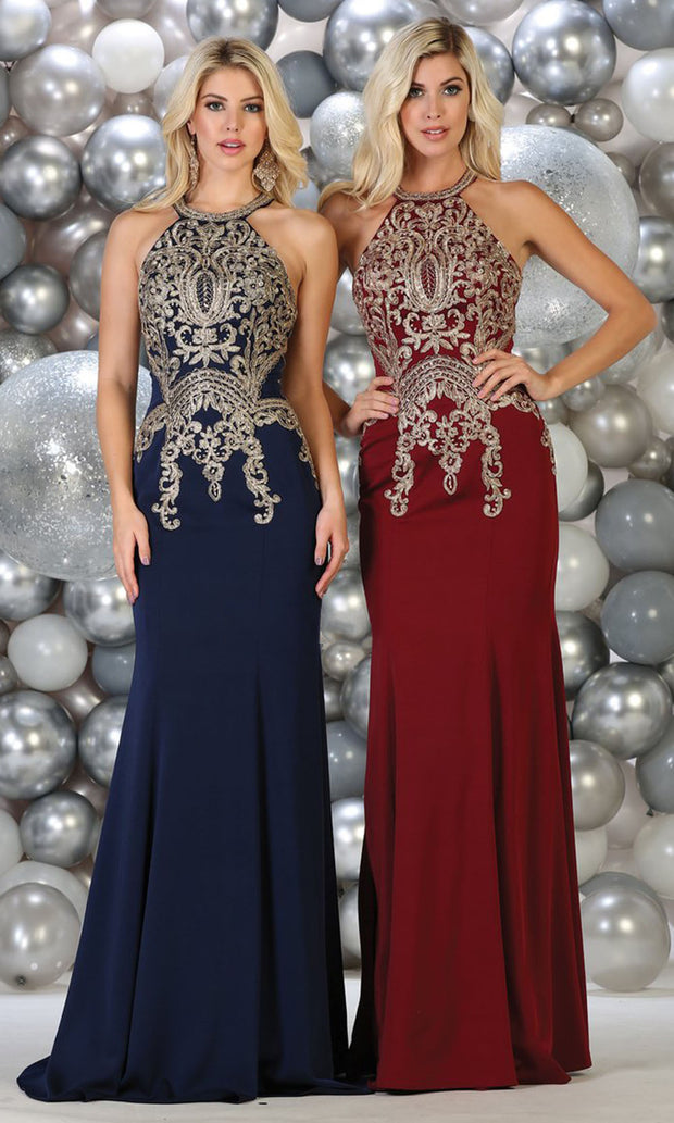 May Queen - MQ1641 Halter Embroidered Fitted Gown In Blue and Red
