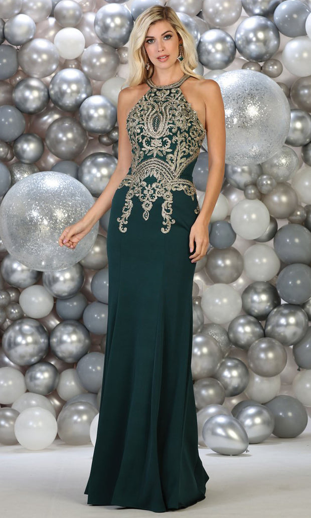 May Queen - MQ1641 Halter Embroidered Fitted Gown In Green