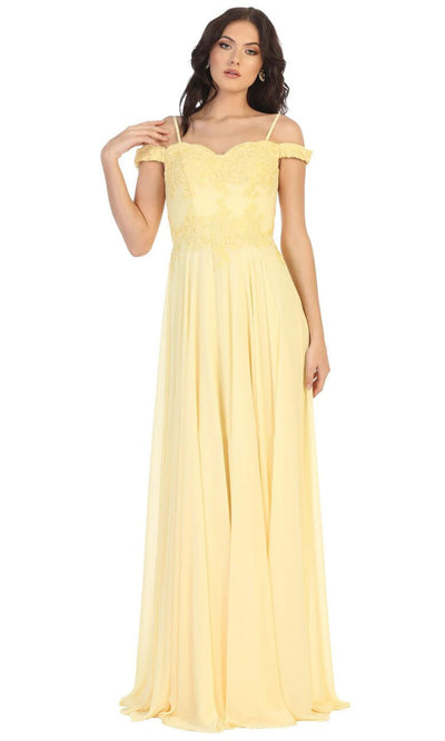 May Queen - MQ1644B Embroidered Off Shoulder A-Line Dress In Yellow
