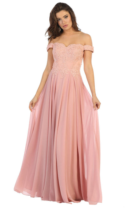 May Queen - MQ1644B Embroidered Off Shoulder A-Line Dress In Pink
