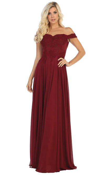May Queen - MQ1644B Embroidered Off Shoulder A-Line Dress In Red