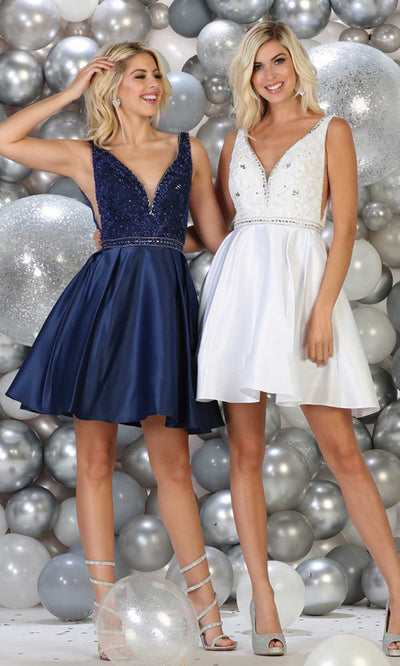 May Queen - MQ1645 Beaded V Neck Cocktail Dress In Blue and White