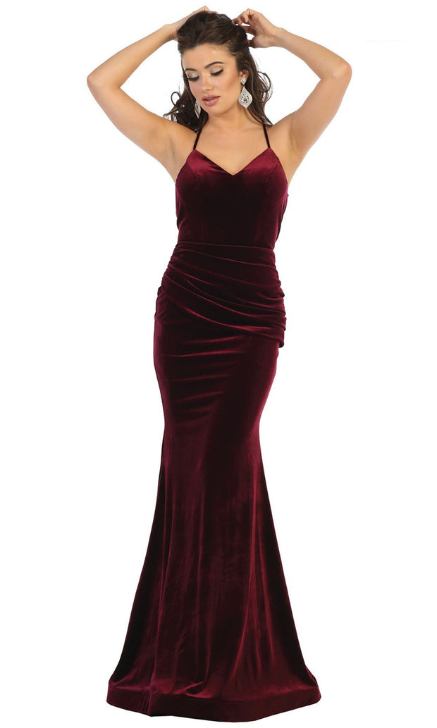 May Queen - MQ1656 Ruched Velvet Trumpet Gown In Red and Black