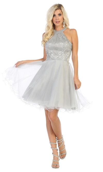 May Queen - MQ1657 Halter Embellished Dress In Silver