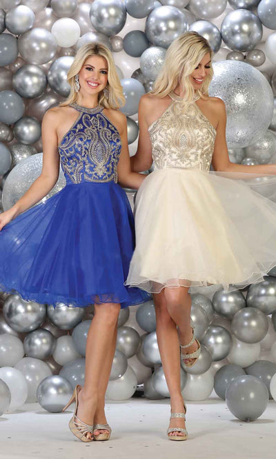 May Queen - MQ1657 Halter Embellished Dress In Blue and Neutral