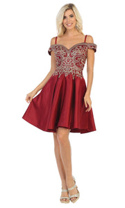 May Queen - MQ1661 Embellished Off Shoulder A-Line Dress In Red