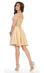 May Queen - MQ1661 Embellished Off Shoulder A-Line Dress In Neutral