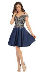 May Queen - MQ1661 Embellished Off Shoulder A-Line Dress In Blue