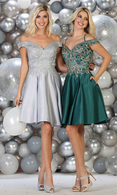 May Queen - MQ1661 Embellished Off Shoulder A-Line Dress In Silver and Green