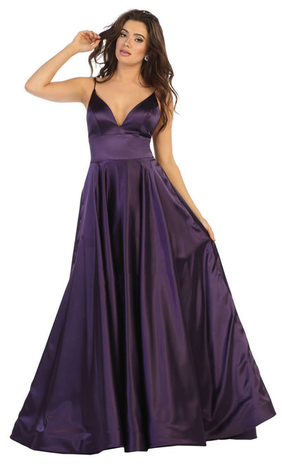 May Queen - MQ1664 Deep V Neck A-Line Gown In Purple
