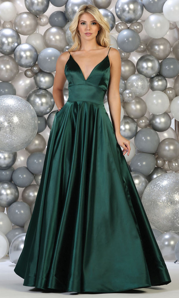 May Queen - MQ1664 Deep V Neck A-Line Gown In Green
