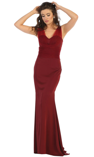 May Queen - MQ1665 Sleeveless Fitted Trumpet Gown In Red and Black