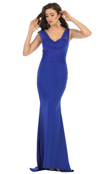 May Queen - MQ1665 Sleeveless Fitted Trumpet Gown In Blue