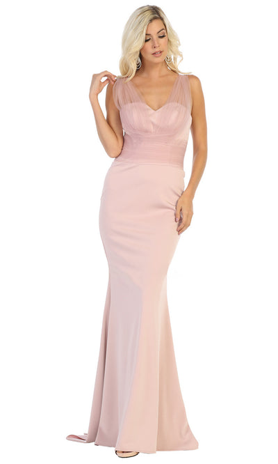 May Queen - MQ1665 Sleeveless Fitted Trumpet Gown In Pink