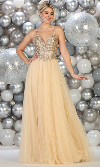 May Queen - MQ1669 V Neck Chiffon Long Gown In Neutral