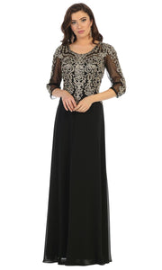 May Queen - MQ1670 Beaded Applique Formal Dress In Black