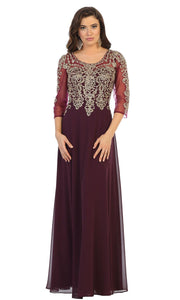 May Queen - MQ1670 Beaded Applique Formal Dress In Purple