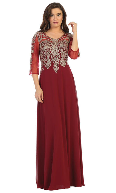 May Queen - MQ1670 Beaded Applique Formal Dress In Burgundy