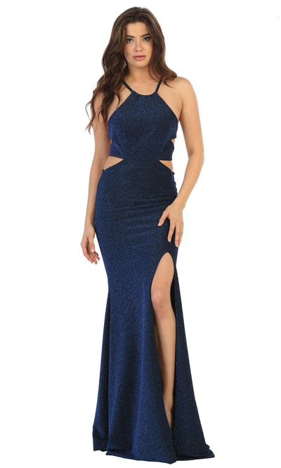 May Queen - MQ1671 Halter Glittered Sexy Dress In Blue
