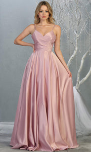 Mayqueen MQ 1678 Long simple v neck mauve pink satin semi ballgown with pockets. This dusty rose flowy gown from mayqueen is perfect for prom, black tie event, engagement dress, formal party dress, plus size wedding guest dresses, indowestern party dress