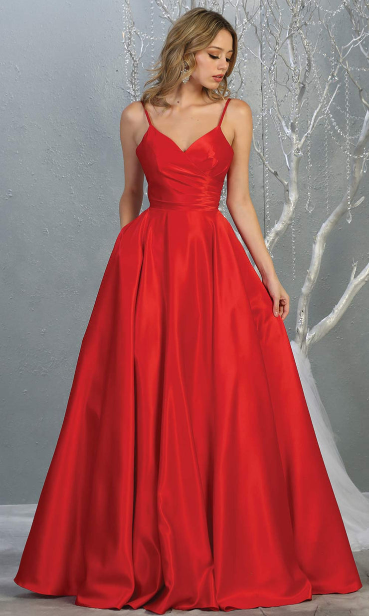 Mayqueen MQ 1678 Long simple v neck red satin semi ballgown with pockets. This red flowy gown from mayqueen is perfect for prom, black tie event, engagement dress, formal party dress, plus size wedding guest dresses, indowestern party dress