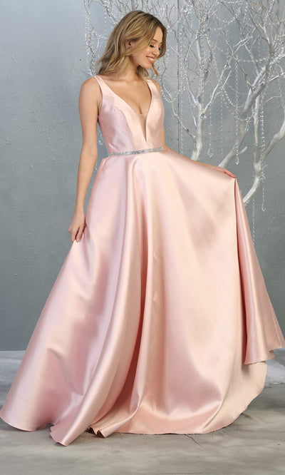 Mayqueen MQ1678 Long simple v neck blush pink semi ballgown with pockets. This light pink flowy gown from mayqueen is perfect for prom, black tie event, engagement dress, formal party dress, plus size wedding guest dresses, bridesmaid, indowestern party dress
