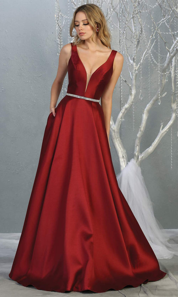 Mayqueen MQ1678 Long simple v neck burgundy red semi ballgown with pockets. This dark red flowy gown from mayqueen is perfect for prom, black tie event, engagement dress, formal party dress, plus size wedding guest dresses, bridesmaid, indowestern party dress