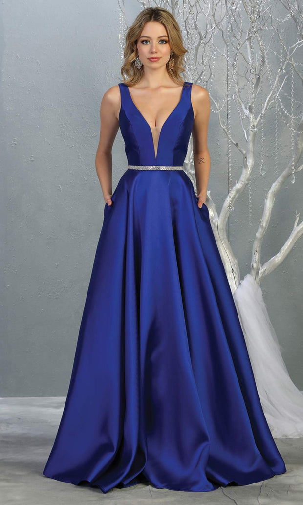 Mayqueen MQ1683 Long simple v neck royal blue semi ballgown with pockets. This royal blue flowy gown from mayqueen is perfect for prom, black tie event, engagement dress, formal party dress, plus size wedding guest dresses, bridesmaid, indowestern party dress