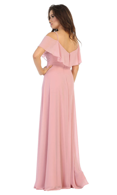 May Queen - MQ1686 Cold Shoulder Chiffon Dress In Pink