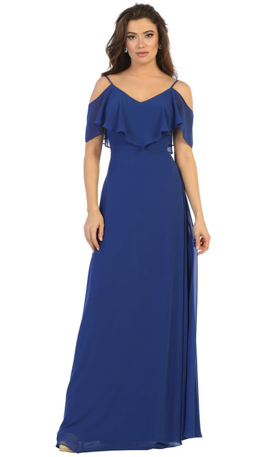May Queen - MQ1686 Cold Shoulder Chiffon Dress In Blue