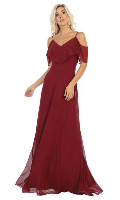 May Queen - MQ1686 Cold Shoulder Chiffon Dress In Red and Black