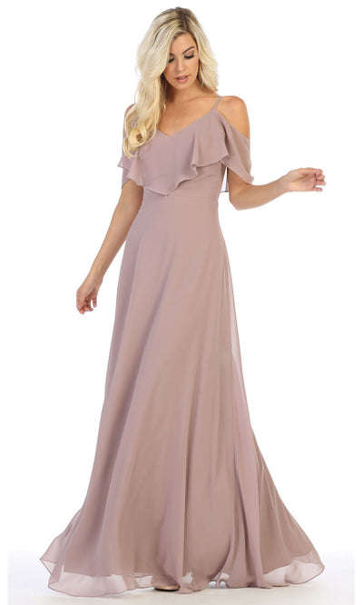 May Queen - MQ1686 Cold Shoulder Chiffon Dress In Purple and Gray