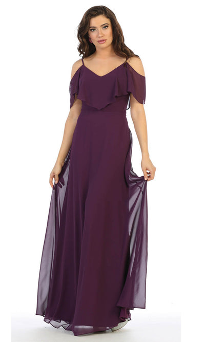 May Queen - MQ1686 Cold Shoulder Chiffon Dress In Purple