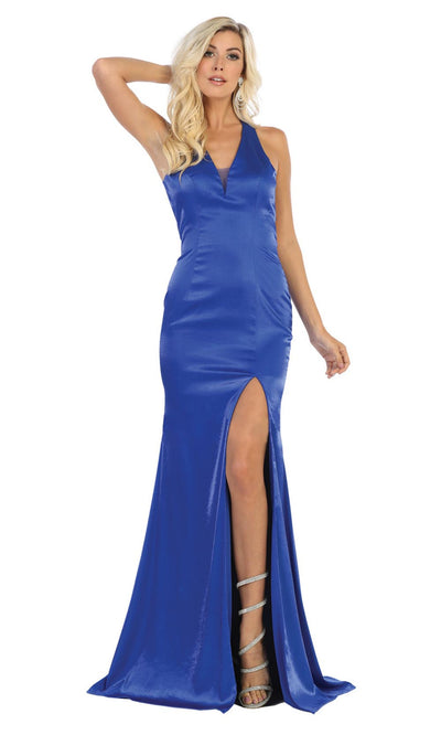 May Queen - MQ1690 Plunging V Neck Trumpet Dress In Blue