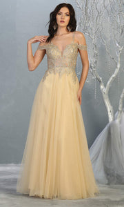 Mayqueen MQ1694 Long Champagne Dress
