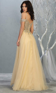 Mayqueen MQ1694 Long Champagne Dress-back