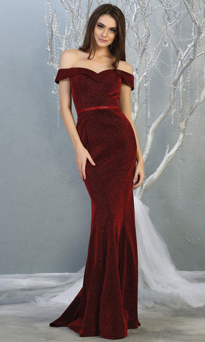 Mayqueen MQ1695 Long Burgundy Off Shoulder Dress