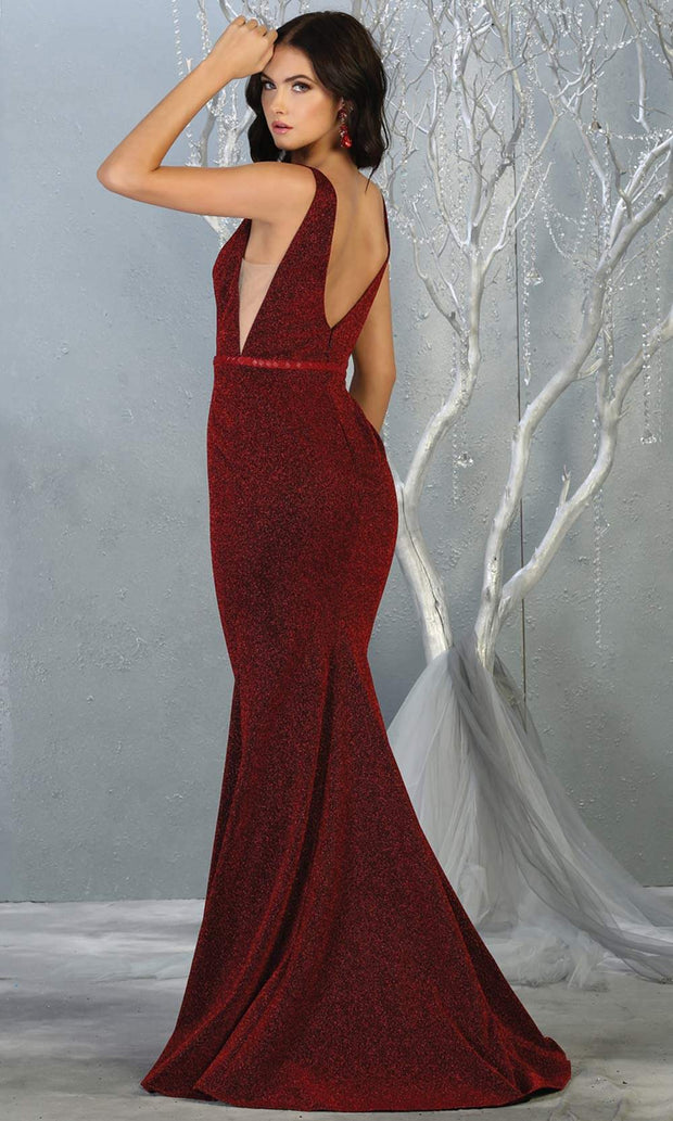 Mayqueen MQ1698 long burgundy red v neck dress-back