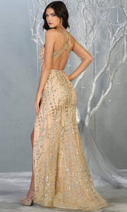 Mayqueen MQ 1699 long gold low back glittery dress with high slit & high neck