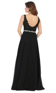 May Queen - MQ1701 Embroidered V Neck A-Line Dress In Black