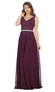 May Queen - MQ1701 Embroidered V Neck A-Line Dress In Purple