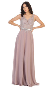 May Queen - MQ1701 Embroidered V Neck A-Line Dress In Pink