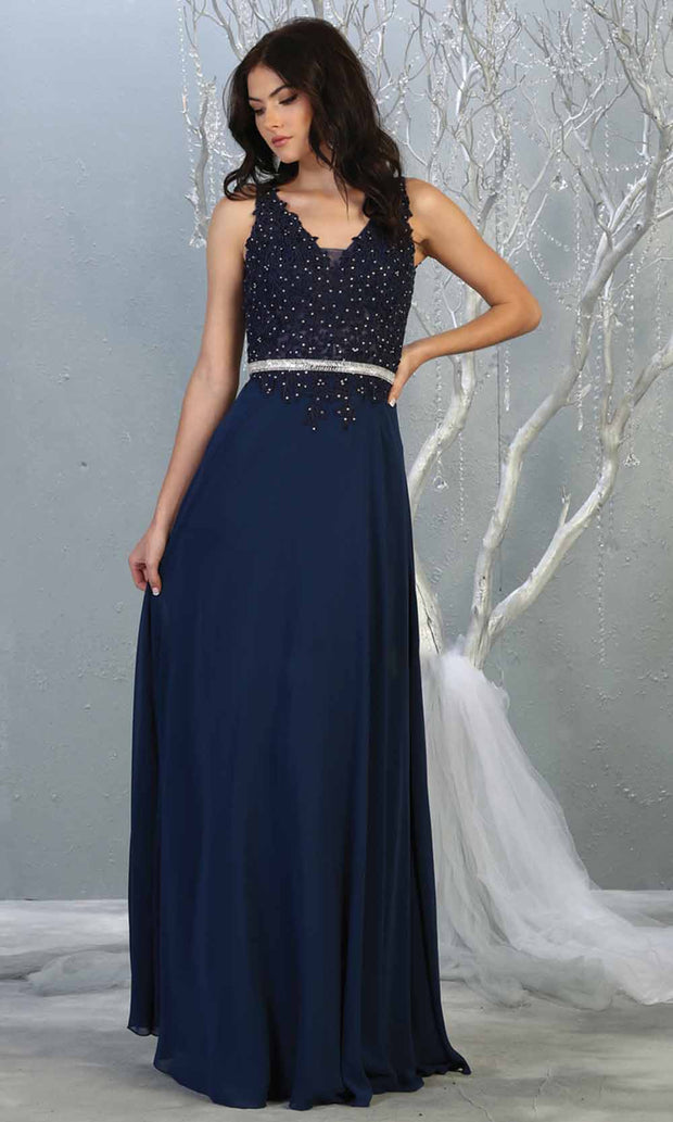 May Queen - MQ1701 Embroidered V Neck A-Line Dress In Blue