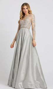 Mac Duggal - 12230D Embroidered Long Sleeve Ballgown In Gray