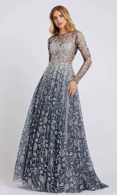 Mac Duggal - 12233D Embroidered Long Sleeve A-Line Gown In Silver