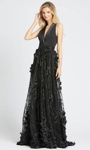 Mac Duggal - 12264D Deep V Neck Floral Applique A-Line Gown In Black