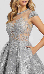 Mac Duggal - 12308D Embroidered Jewel Neck Ballgown In Silver