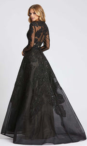Mac Duggal - 12347D Embroidery Detail Long Sleeve Ballgown In Black
